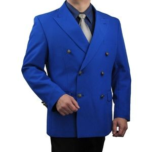 Mens Classic Fit Double-Breasted Blazer-Royal Blue